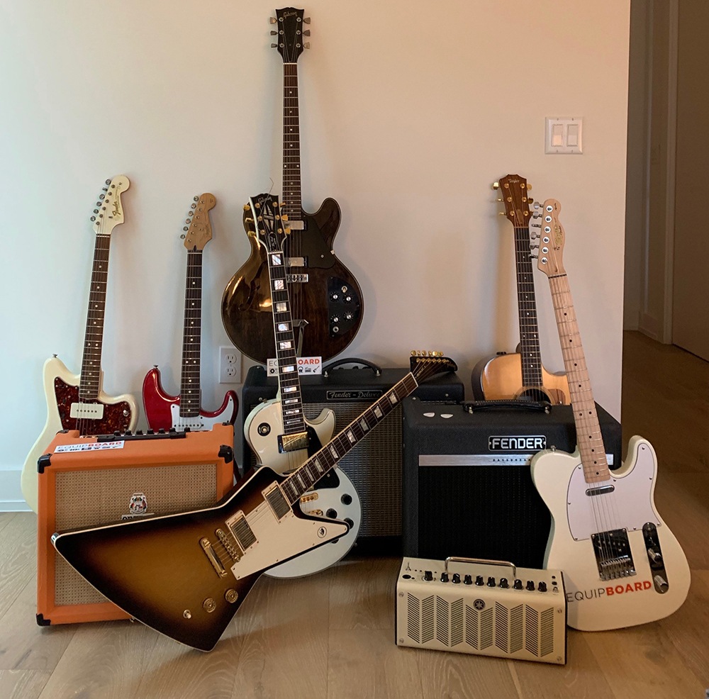 Equipboard guitars and amps used for testing gear